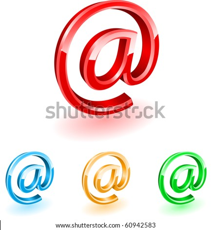 Three-dimensional mark Internet mail. Vector. - stock vector