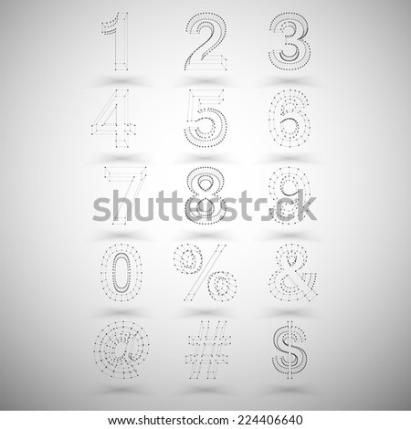 Three dimensional mesh stylish numbers and other symbols on white background, single color clear vector. - stock vector