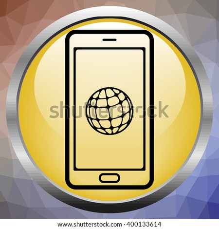 three dimensional mobile phone and world globe isolated on white whith clipping path - stock vector