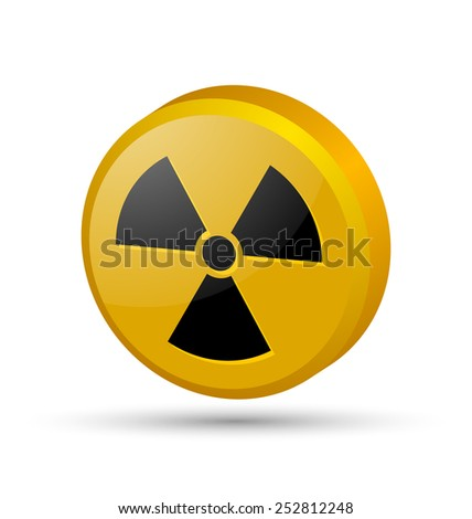 Three dimensional nuclear symbol isolated on white background - stock vector
