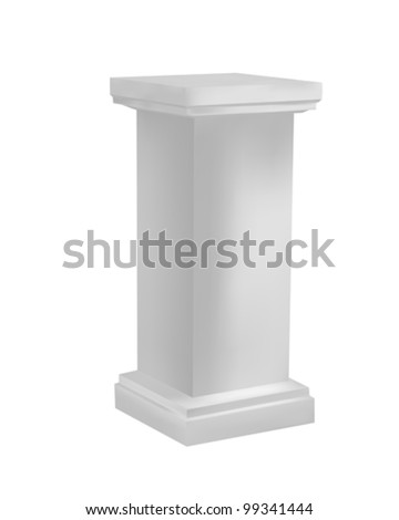 Three dimensional pedestal, isolated objects on white background - stock vector