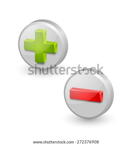 Three dimensional plus and minus icons on white background - stock vector