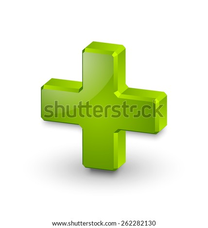 Three dimensional plus or medical cross symbol on white background - stock vector