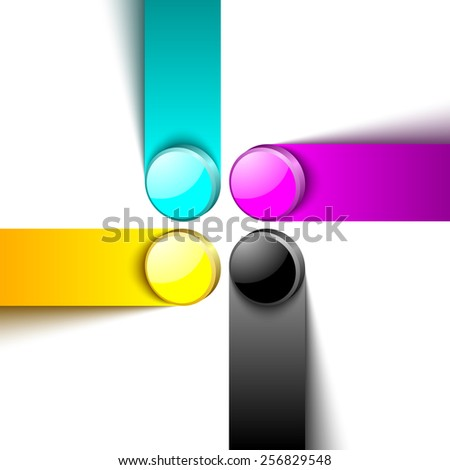 Three dimensional primary cmyk print color design elements on white background - stock vector
