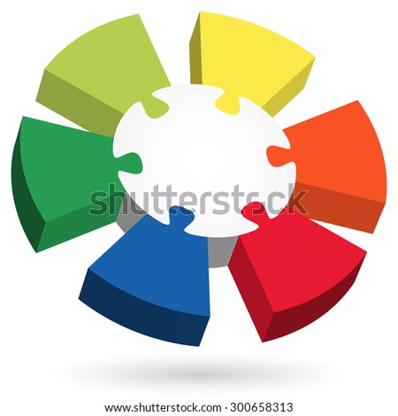 three dimensional puzzle info graphic with center part and six colored options