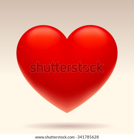 Three dimensional red heart shape isolated on white background. Vector illustration - stock vector