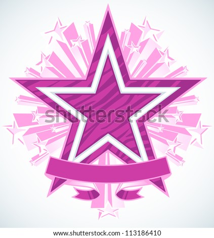 Three Dimensional Shooting Stars Vector With Blank Banner. Star in the center has a highly polished chrome double outline with zebra stripe pattern fill. - stock vector