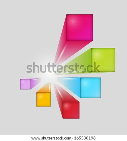 three dimensional squares with shining on white background - stock vector