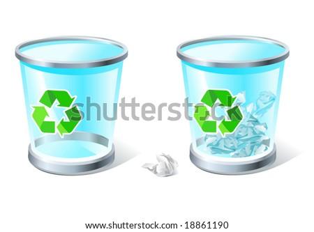 three-dimensional transparent trash bins (full & empty - stock vector