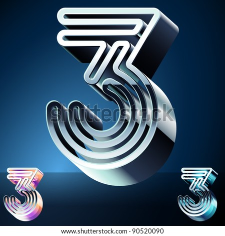 Three-dimensional ultra-modern alphabet from chrome or metal letters. Character 3 - stock vector