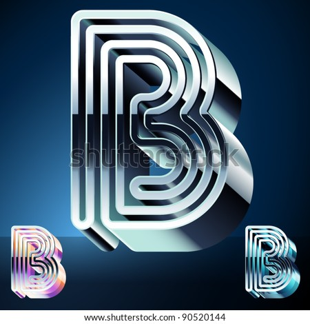 Three-dimensional ultra-modern alphabet from chrome or metal letters. Character b - stock vector