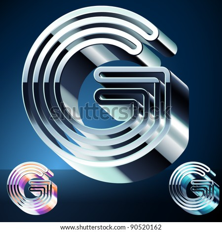 Three-dimensional ultra-modern alphabet from chrome or metal letters. Character g - stock vector