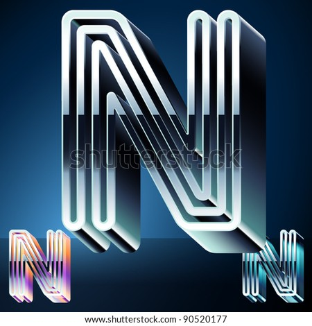 Three-dimensional ultra-modern alphabet from chrome or metal letters. Character n - stock vector