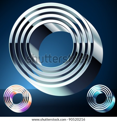 Three-dimensional ultra-modern alphabet from chrome or metal letters. Character o - stock vector