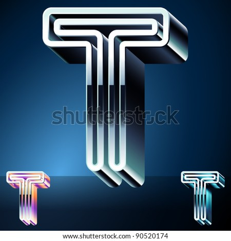 Three-dimensional ultra-modern alphabet from chrome or metal letters. Character t - stock vector