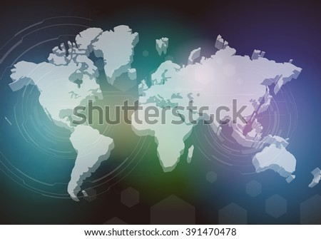 three dimensional world map, abstract image, vector illustration - stock vector