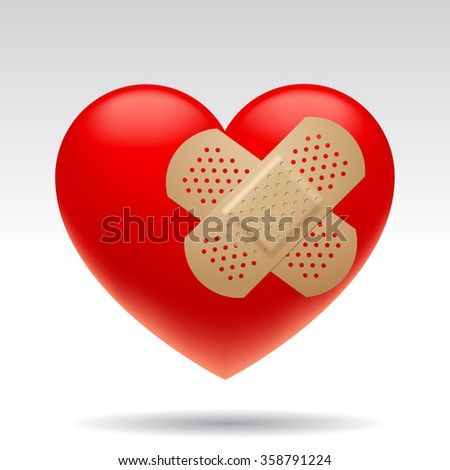 Three dimensional wounded red heart with medical patches isolated on white background. Vector illustration - stock vector
