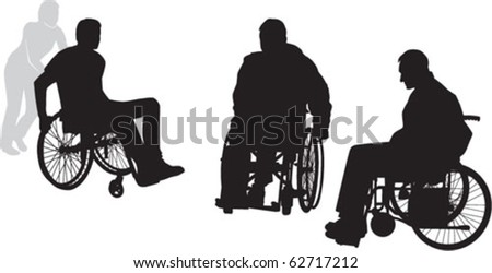 three disabled person - stock vector