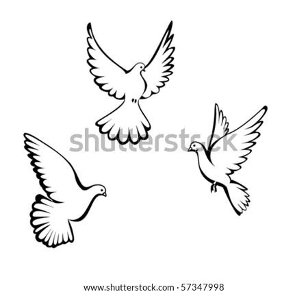 Three dove - stock vector