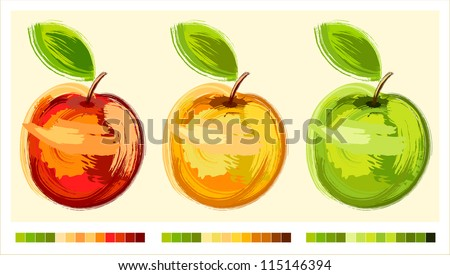 Three drawing apple different colours with green sheet - sketch - stock vector