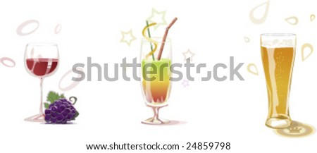 Three drinks in glasses - stock vector