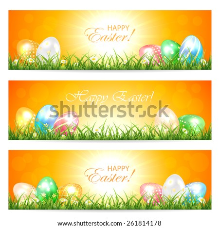 Three Easter cards with multicolored eggs in the grass and Sun, illustration. - stock vector