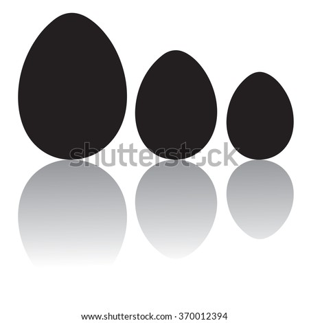 Three eggs silhouettes - stock vector