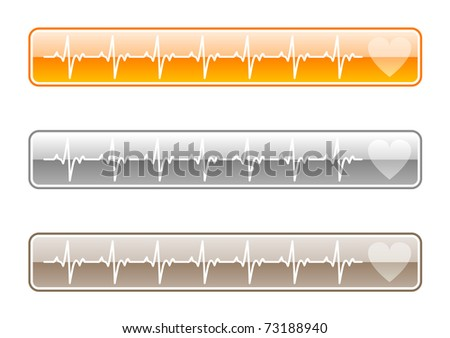 three ekg buttons on the white - stock vector