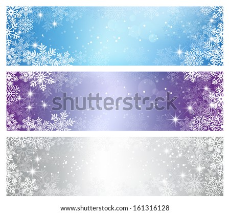 Three elegant Christmas banners - stock vector