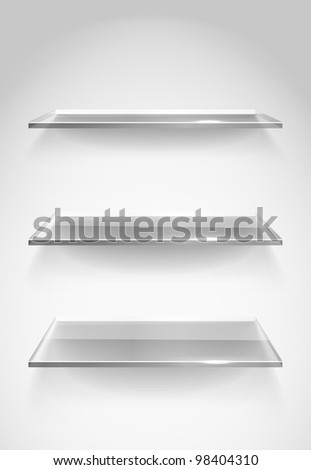 Three empty advertising glass shelves on the wall - stock vector