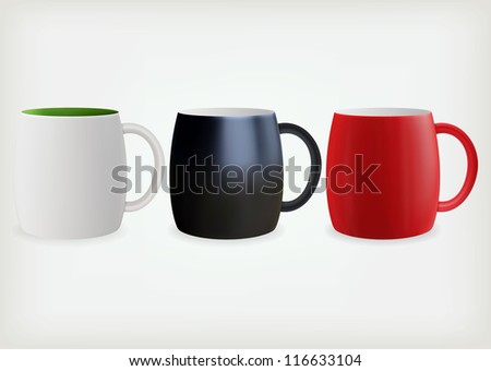 Three empty colorful coffee cups - stock vector