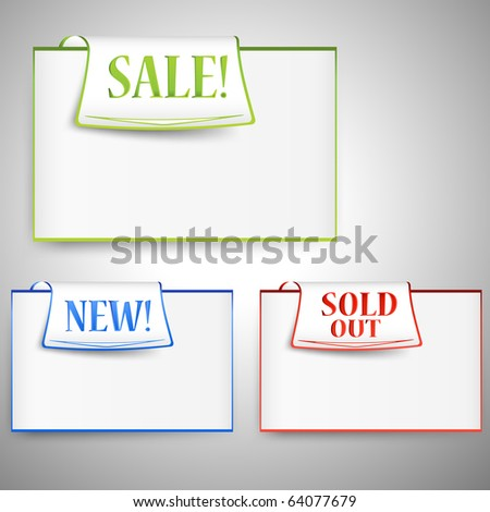 Three empty colorful paper tags with place for your text - stock vector