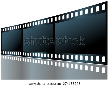 Three empty frame of film with reflection. Vector illustration. - stock vector