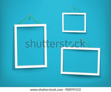 Three empty frame of picture on the blue wall. Eps10. Used opacity layers for effect of shadows - stock vector