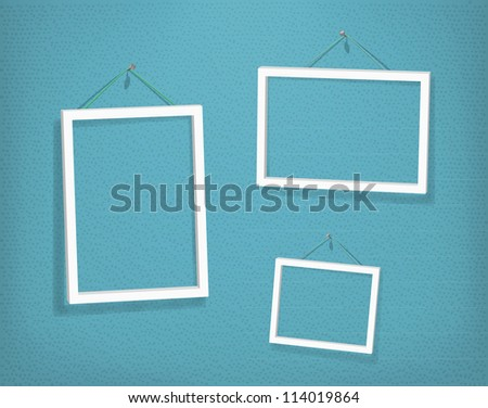 Three empty frames of picture on old textured wall. Eps10. Used opacity layers for effect of shadows and texture effect - stock vector
