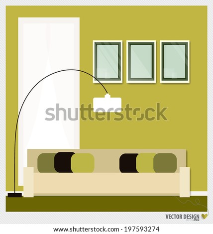 Three empty frames on a wall and Decorative Wall Stickers For Your House's Interiors. Vector illustration. - stock vector