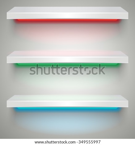 Three empty white plastic illuminated by neon lights shelves with shadows on grey light background. vector illustration