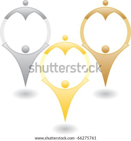 Three family silhouette - stock vector