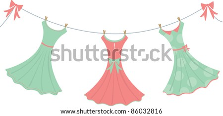 Three fancy dresses hang on a clothesline.