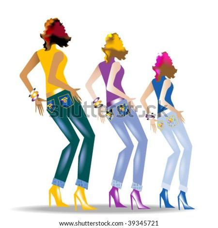 Three females wearing jeans