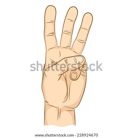 Three-finger gesture. Hand showing number three. - stock vector