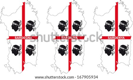 three flags of sardinia - stock vector