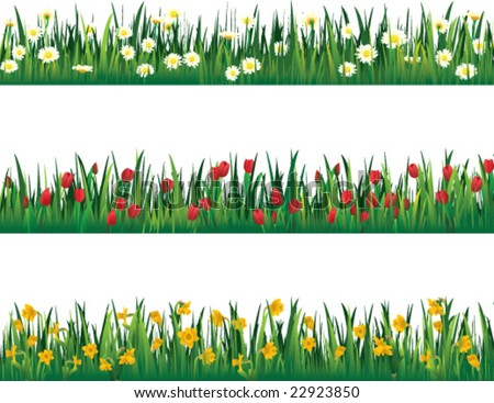Three flower border pieces - vector - stock vector