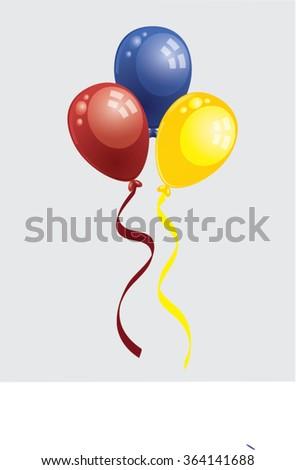 three flying balloons isolated illustration - stock vector