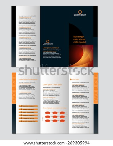 Three-fold leaflet design template - Vector - stock vector