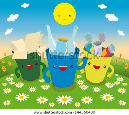 three for recycling walking in the field blooming - stock vector