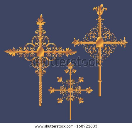 Three Forged Golden Crosses on blue background