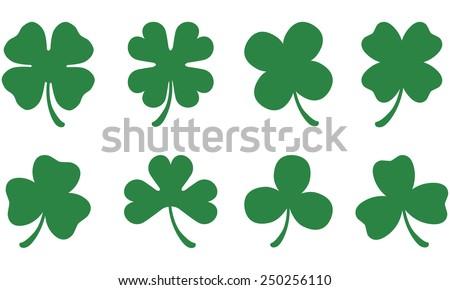 Three & Four Leaf Clovers - stock vector