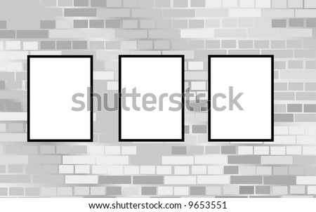 three frames on brick wall vector