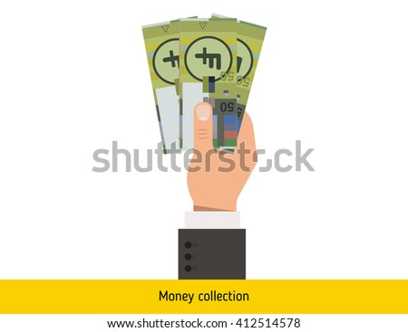 Three franc in hand. Swiss franc banknote.  - stock vector